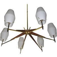 mid century danish modern walnut brass and opaque glass chandelier for