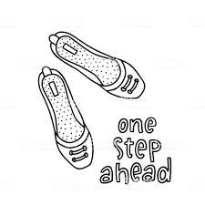 女の子の手書きの単語一歩先を持つ女性ペア靴 いたずら書きのベクター
