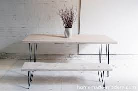 homemade modern diy ep3 1 white washed 2x12 table with hairpin legs