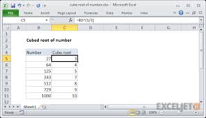 Square And Cube Roots Chart Excel Formula Cube Root Of Number Exceljet