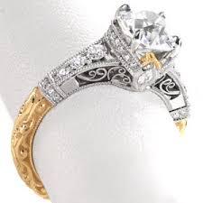 vintage & antique engagement rings in los angeles Wedding Rings Los Angeles stunning custom filigree engagement rings in los angeles with a two tone yellow gold and wedding rings in los angeles