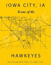 Iowa City Iowa Map Kinnick Stadium Sign Iowa Hawkeyes Art Print Gift For Hawkeye Fan Iowa Hawkeyes Poster Kinnick Stadium Seating Chart