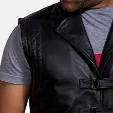 desperado black leather coat vest