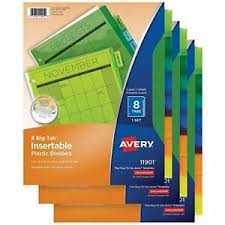 Avery 11901 Template Details About Avery Big Tab Insertable Plastic Dividers 8 Tab Set Of 3