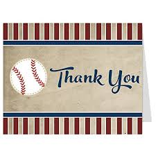 Thank You Cards Baseball Thank You Card Tan White Blue Red