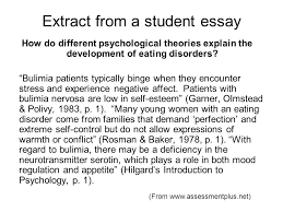students as authors the student authorship project ppt extract from a student essay how do different psychological theories explain the development of eating disorders