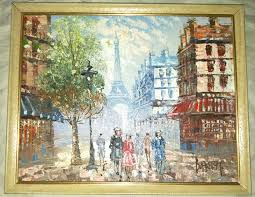 oil painting by burnett and burnett artist oil painting oil painting paris street scene eiffel
