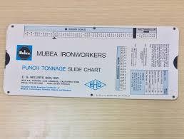 Punch Tonnage Chart Vtg Mubea Ironworkers Punch Tonnage Slide Chart 1974 Eg
