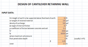 Small Picture Excel Sheet For The Design of Cantilever Retaining Wall
