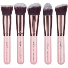 luxie rose gold synthetic 5 piece kabuki brush set