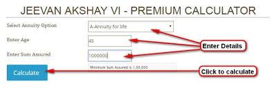 Jeevan Akshay Chart Premium And Benefit Calculator Jeevan Akshay Vi 189
