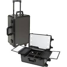 studio cosmetic makeup case artist barber salon travel rolling light trolley uk lighted