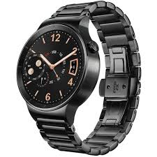 huawei smartwatch on wrist. huawei watch 42mm smartwatch (black stainless steel, black steel link band) on wrist t