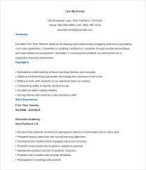 Resume Template For Teacher Stunning Resume Template For Teachers 48 Teacher Templates Free Sample