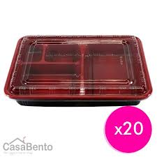 Disposable Bento Box - Red x 20 Wholesale Supplies | Boxes