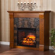 w faux stone infrared electric fireplace in m antique oak