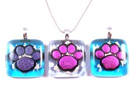 dog paw print memorial cremation ashes pendant pink purple blue dichroic glass stained glass key chain