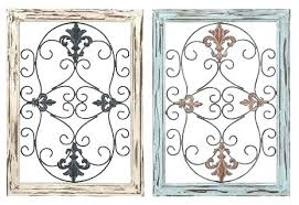 wood and iron wall decor rustic metal panel with intricate design set of 2 traditional framed