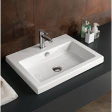 bathrooms sinks. Bathroom Sink Rectangular White Ceramic Drop In Or Wall Mounted Tecla CAN01011 Bathrooms Sinks A