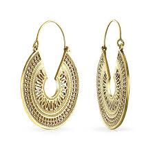 bling jewelry indian style gold plated filigree bali hoop earrings