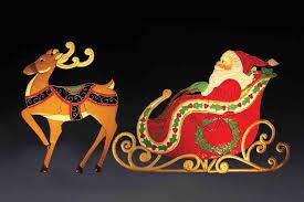 Santa And Reindeer Outdoor Decorations Sleigh