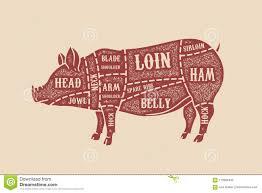 Pig Butcher Diagram Pork Cuts Design Element For Poster