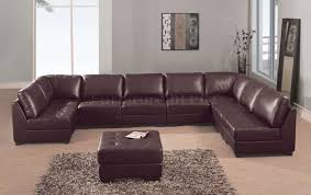 at   in elegant brown leather sectional sofas