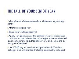 rising senior connection what to expect your senior year a brief  the fall of your senior year o admissions counselors who come to your high