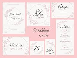 Modern Pink Wedding Suite Collection Card Templates With Pink