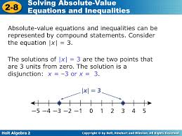 holt algebra 2 2 8 solving absolute value equations and inequalities absolute value