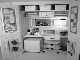 Classy Double Door Home Office Closet Design With White Rectangle Laptop  Table Also Wall Mount Shelves Storage As Small Spaces Multi Purpose  Furniture Ideas