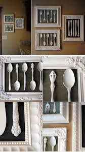 wall art made from recycled cutlery and dollar frames