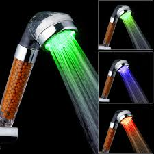 Hot Bathroom Shower Spa 3 Color Led Light Shower Water Temperature Controlled Visible Showerhead Mineral Filter Shower Head Gift