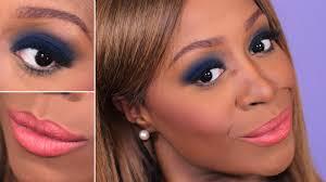 navy blue smokey eye peach lips navy blue eyeshadow makeup tutorial on dark skin you