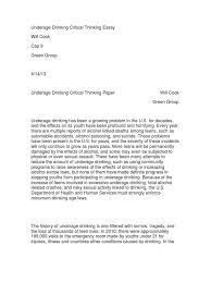 underage drinking critical thinking essay alcoholism adolescence