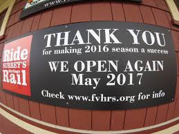 thanks for a great season fraser valley heritage rail society thank you 2016