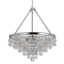 calypso 8 light crystal teardrop polished chrome chandelier