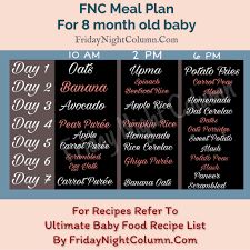 8th Month Baby Food Chart Fnc Meal Plan For Babies 6 To 8 Months Friday Night Column