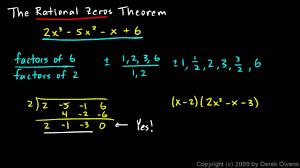 algebra 2 6 07a the rational zeros theorem part 1