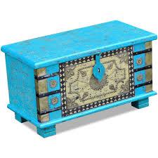 vidaxl mango wood storage chest blanket box coffee