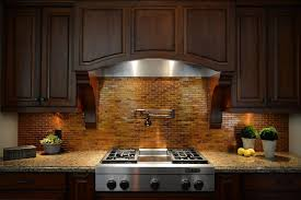 white traditional kitchen copper. Traditional Kitchen Ideas With Trendy Copper Tile Backsplash, Brown Teak Wooden Floating Cabinet, White P