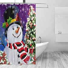 ZOEO Christmas Shower Curtain Snowman Xmas Eve Tree Cardinal Birds Fabric Waterproof Large Window Bathroom Curtains Amazon.com: