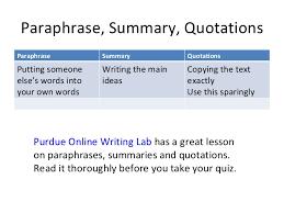 Paraphrase Summary Quotations