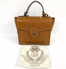 ralph lauren millbrook top handle satchel brown pebbled leather cross 248