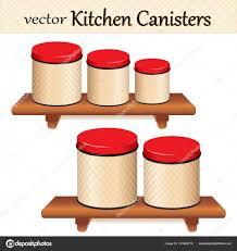 kitchen food storage canister set on wood shelves lattice background red lids five