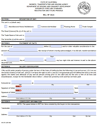 Free California Mobile Home Truck Camper Bill Of Sale Form