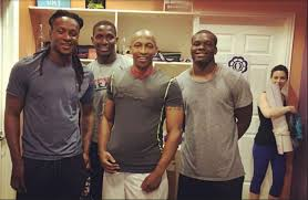 texans players from left deandre hopkins alfred blue keith mumphery and running