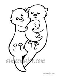 Schattig Otter Familie Kleurplaat Etsy