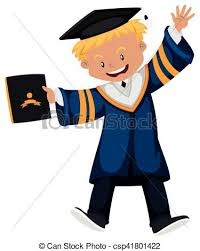 man in graduation gown holding diploma illustration vector  man in graduation gown holding diploma vector