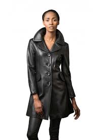 ¾ fitted leather coat